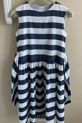 Il Gufo Girl's Dress Cotton Linen Blue/White Sash, Sz 10/12, NWOT, Made In Italy