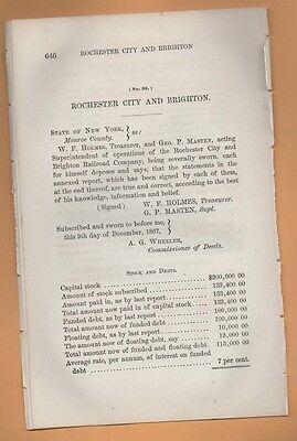 Brighton Party City (1867 New York RR report ROCHESTER CITY & BRIGHTON RAILROAD COMPANY Horse)