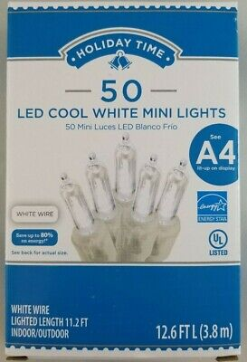 Holiday Time 50 LED Cool White Mini Lights Christmas Decoration Fairy White Wire ()