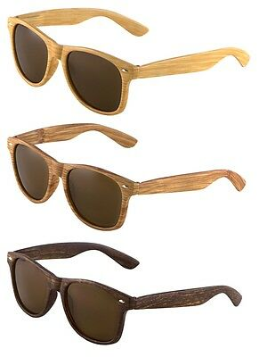 CLASSIC FAUX BAMBOO WOOD PRINT SQUARE SUNGLASSES RETRO CASUAL VTG HIP HOP (Casual Sunglasses For Men)