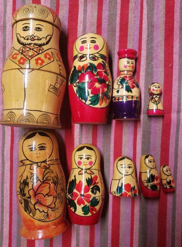 Lot of 2 sets of Vintage Russian Nesting Dolls original USSR Russia