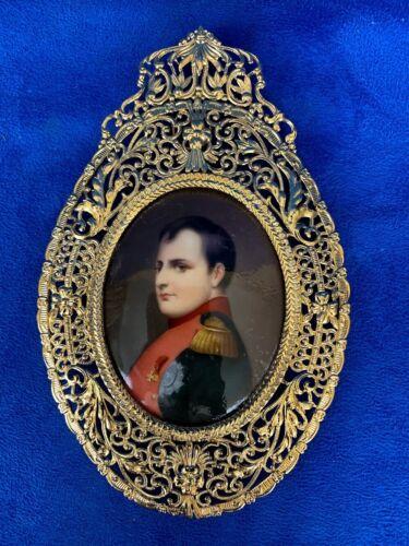 Antique Napoleon Porcelain Plaque With Filigree Gold Frame