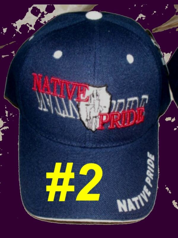 Native Pride Indian American Smoke Peace Pipe Shadow Black Embroidered Cap Hat