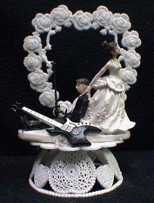 Rockin Electric GUITAR Base Funny Wedding Cake Topper Rockstar Rock groom top ()