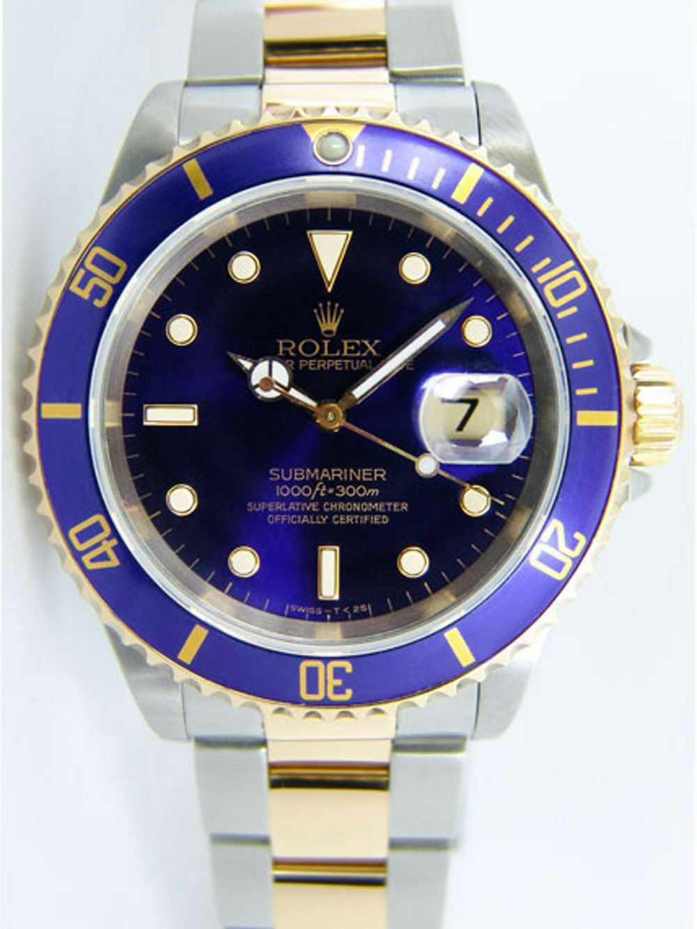 fb138fe35f3b Rolex Submariner Blue Dial Yellow Gold   Steel 16613LB Rehaut 40mm for sale  online