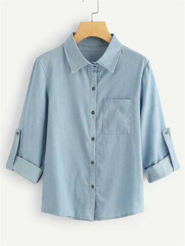 Women Denim Jacket Long Sleeve Loose Fit Casual Jean Coats O