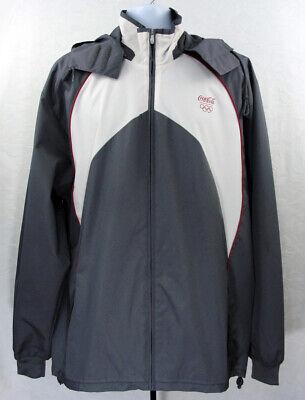 Adidas Coca Cola Olympics 2012 Mens Large XL Hooded Gray Windbreaker Jacket