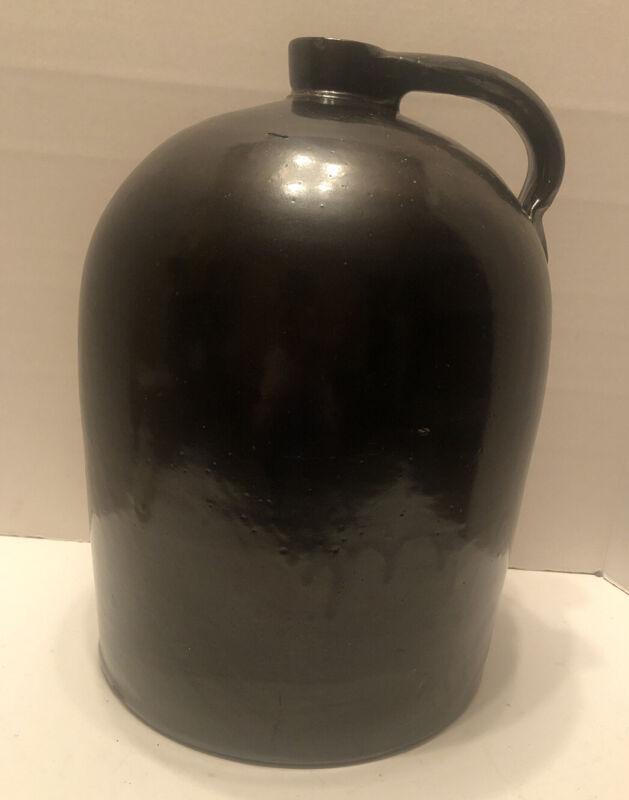 "Old 14"" Vintage Antique Whiskey Jug Brown Stoneware Crock"