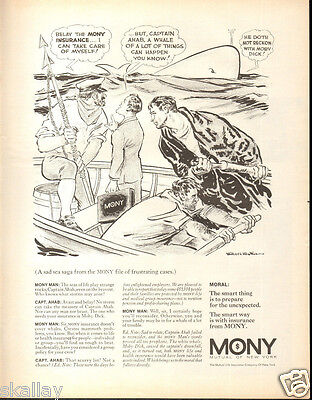 1970 Large Print Ad Of Mony Mutual New York Life Insurance Moby Dick Capt Ahab