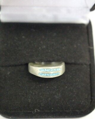 Antique Sterling Silver Signed MEX turquoise chip inlay Ring size 6 5