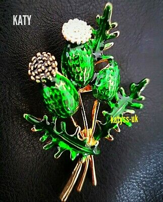 Gold Tone Vintage Style Thistle Flower Brooch Pin Green Scottish Celtic Broach