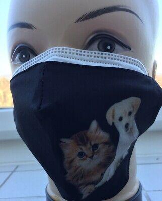 1 x FFP2 Maske CE0598 + 1 x Stoffmaske Behelfsmaske waschbar Hund und Katze