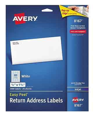 Avery 8167 Inkjet Return Address Labels 12 X 1-34 White 2000 Ct