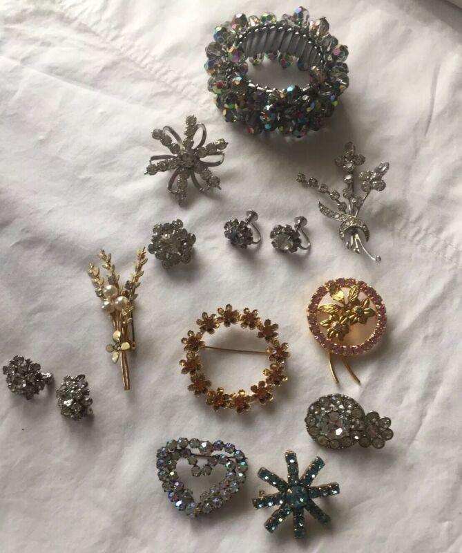 True Vintage Austria And Unmarked Rhinestone Broach, Bracelet And Earring Lot