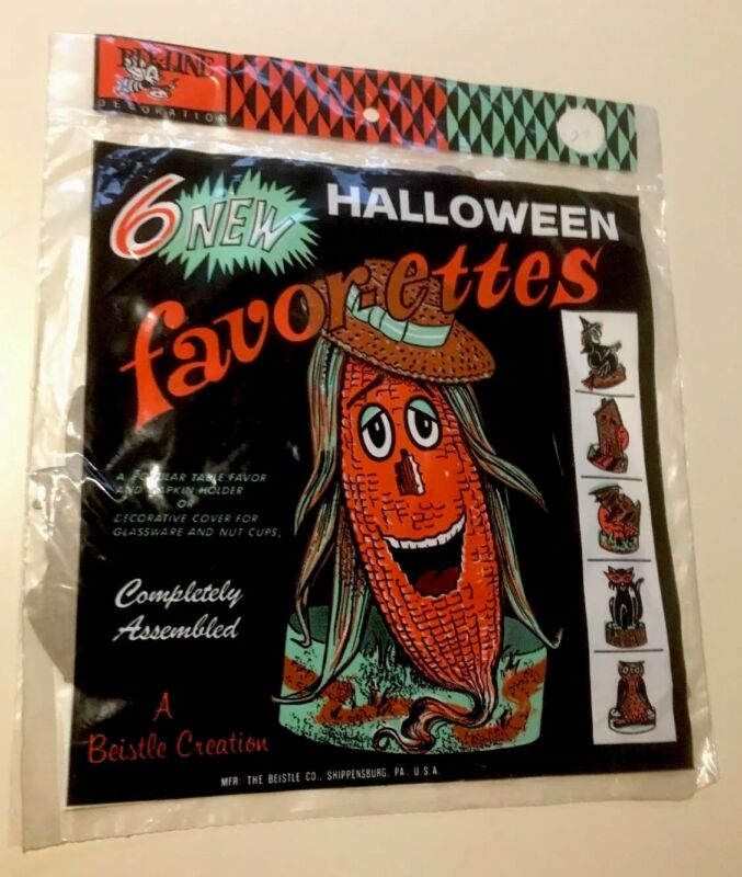 Vintage Halloween Beistle Diecuts Witch Owl Haunted House Bat Cat Sealed Set 6