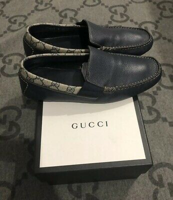 100% AUTHENTIC GUCCI GG MONOGRAM LEATHER LOAFERS DRIVER SHOES NAVY BLUE G 8 US 9