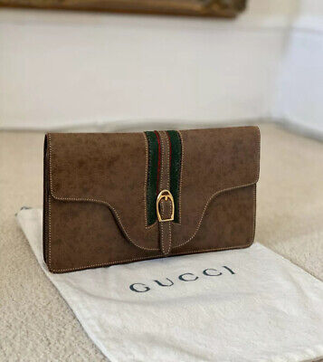 100% Authentic Gucci Vintage 1970's Brown Leather Ophidia Clutch Purse Handbag