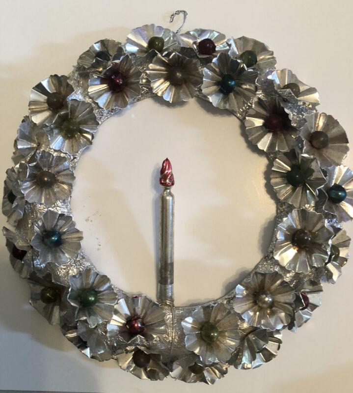 Vintage Antique Foil Christmas Wreath w metal reflectors glass ornaments candle