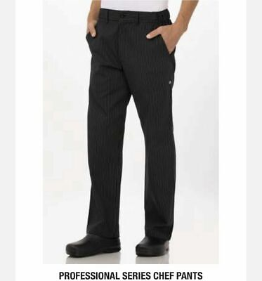 Nwt Chef Works Mens Professional Series Chef Pinstripe Pants Zip Up Size M