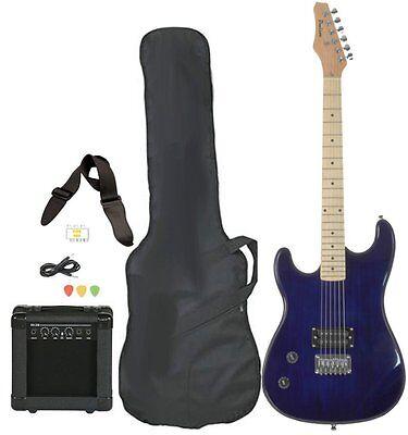 Left Handed Electric Blue Guitars for Beginners w/ Amp Case Picks Full Size Body