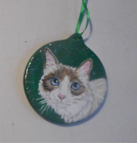 Snowshoe Cat Christmas Ornament Decoration Hand Painted Ceramic