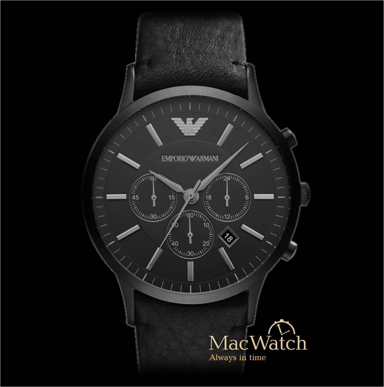 Emporio Armani Herren Uhr AR2461 Chronograph Klassik Leder Schwarz  NEU OVP