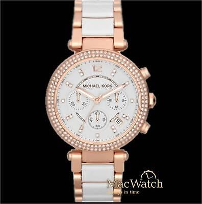 Michael Kors Damen Uhr Parker MK5774 Chronograph Edelstahl rose weiss NEU