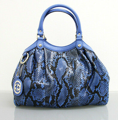 $2500 New GUCCI Blue Medium Sukey Python Tote BAG HANDBAG 211944