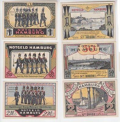 50 Pfennig 1 & 2 Mark NOTGELD Hamburger Bürgermilitär 1921 (116180)