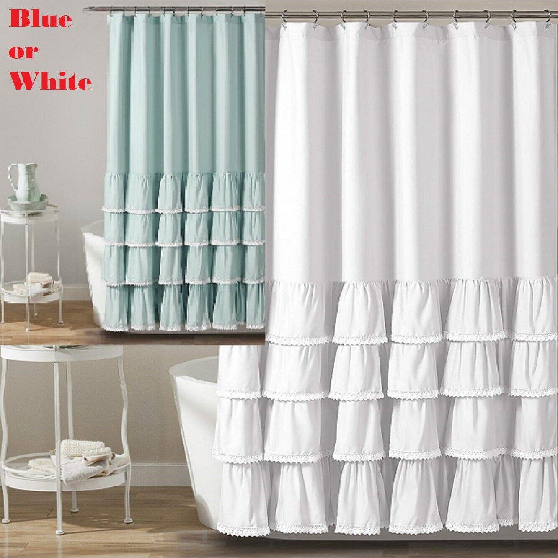 Lush Decor Ella Lace Ruffle Shower Curtain Blue OR White 72″ x 72″ Ruffle Lace Bath