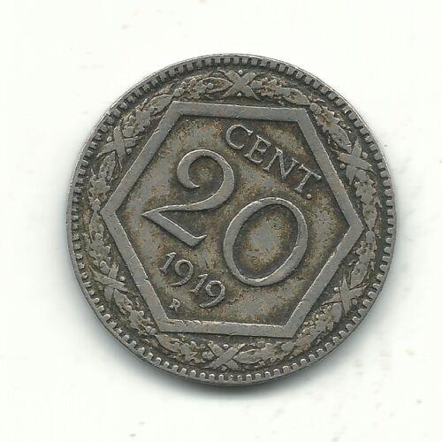 VERY NICE HIGHER GRADE BETTER DATE 1919 R ITALY 20 CENTESIMI COIN-JAN303
