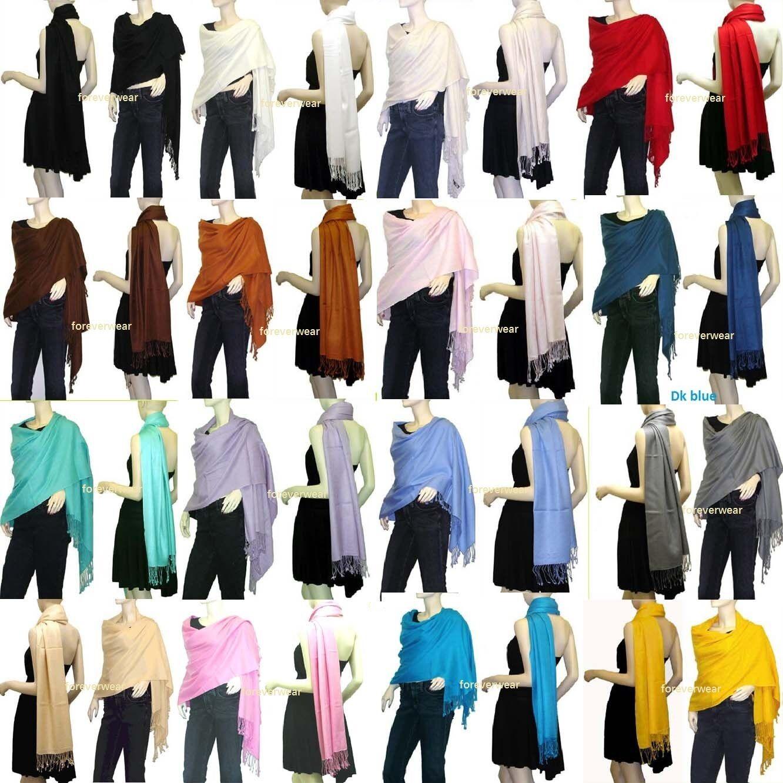 Scarf - NEW Women Soft PASHMINA SILK Classic Solid Cashmere Wool SHAWL Scarf Stole WRAP