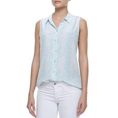 Equipment Colleen Snake-Print Silk Sleeveless Shirt Button Up Blouse  Size SP