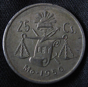 1950-1953 30% Silver Mexican 25 Centavos-NICE OLD SILVER COIN FROM MEXICO!