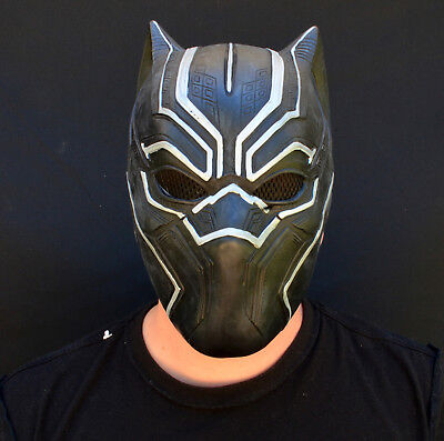 Latex Superhero Costume (Halloween Comicon Mask Latex Black Panther Superhero 2018 Costume)