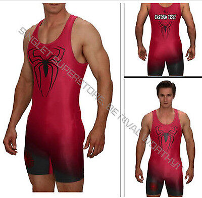 (Superhero wrestling singlet, superhero powerlifting singlet, with custom text)
