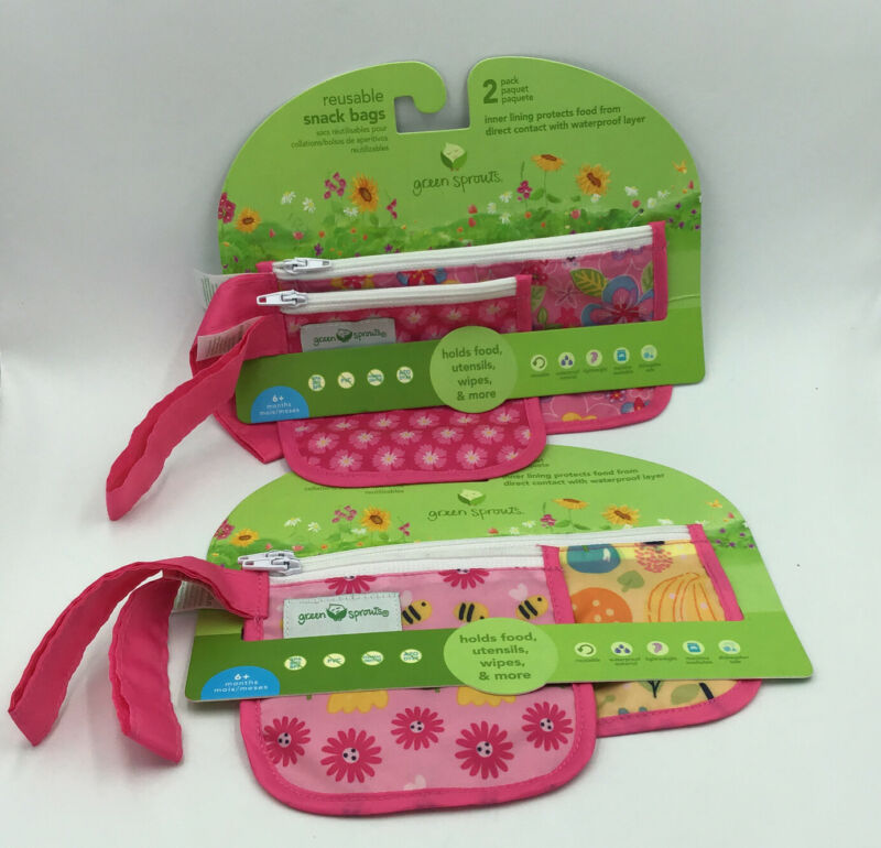 Green Sprouts Reusable Snack Bags 2 Pack Kids Babies 6 Plus Months New Lot of 2