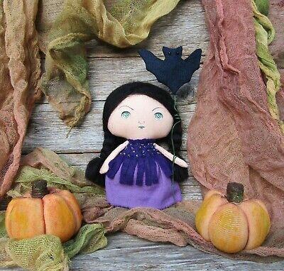Handmade Tiny witch cloth doll Mini pocket rag dolls Halloween gothic home decor - Gothic Rag Dolls