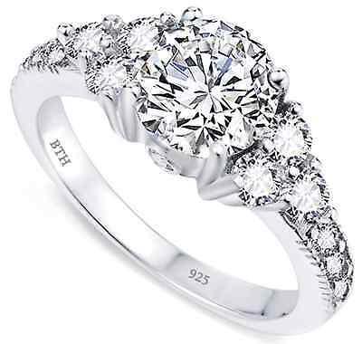 1.33ct 925 Silver Ladies Round Brilliant Cut Wedding Engagement Bridal Ring