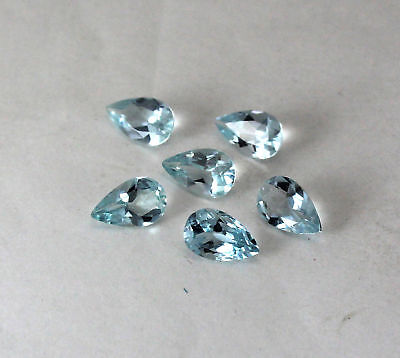 7x5 mm 6 Pieces Lot AAA++ Natural Blue Aquamarine Pear Shape Faceted Gemstone