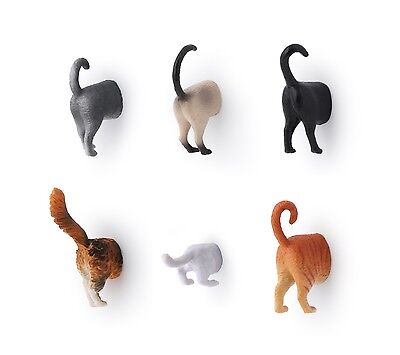 Kikkerland Set Of 6 Kitten Cat Butt Fridge Novelty Funny Magnets Grey Tabby MG53