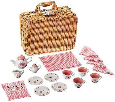 Butterfly Tea Set Basket Kids Girls Tea Party Toy Game