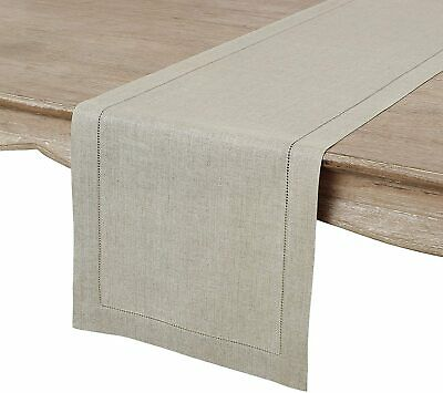 "100% Linen Table Runner Hemstitched 16"" x 108"" Color: Natural 61410"