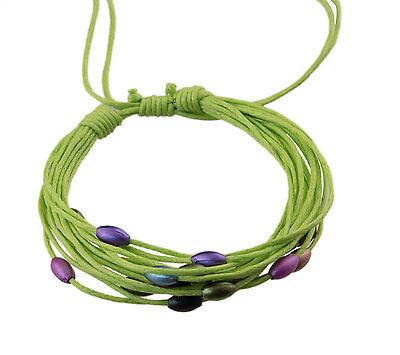 Bracelet multi fils vert perles pastel tous poignets-Line bresilien Wrap 939 (Tous Armband Perle)