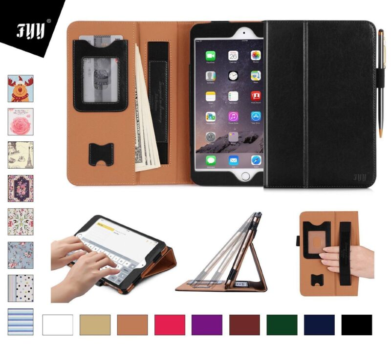 Apple iPad Mini 4 Leather Case Card Slots Note Holder Hand Elastic Strap Black