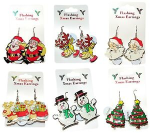 Novelty-Christmas-Flashing-Motif-Drop-Earrings-Xmas-Santa-Snowman-Tree-Rudolph