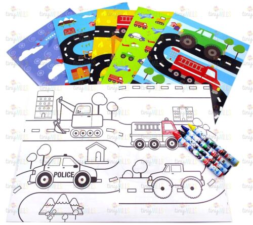 Transportation Vehicles Coloring Book Set with Crayons Party Favor, 12 Pack