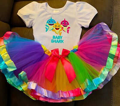 Baby Shark Birthday 2 year old -2 Piece- Tutu Outfit  Girl Baby Toddler](2 Year Old Birthday Tutu Outfit)