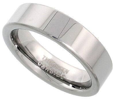 Tungsten Carbide 6mm Ring Men Women Wedding Band Polish Plain Flat Comfort - 6mm Comfort Fit Plain Band