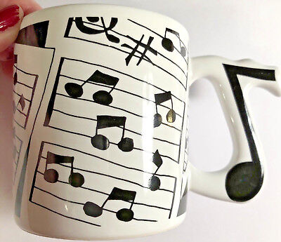 Music Notes Sheet Music Black And White Coffee Mug Tea Cup Vintage 12 (Tea Note Collection)